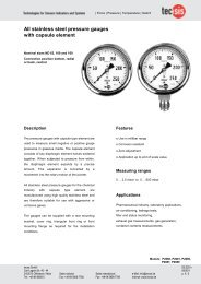 All stainless steel pressure gauges with capsule element - Tecsis