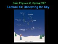 Lecture #4: Observing the Sky - Duke Physics
