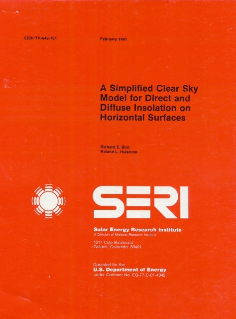 Simplified Clear Sky Model for Direct and Diffuse - Renewable ...