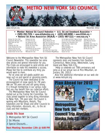 Newsletter November 2012 - Metropolitan New York Ski Council