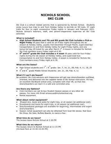 NICHOLS SCHOOL SKI CLUB