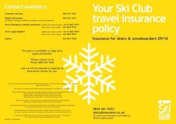 Your Ski Club travel insurance policy