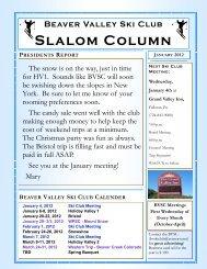 Slalom Column - Beaver Valley Ski Club
