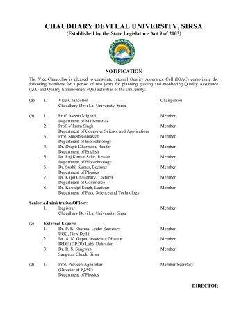 notification - Chaudhary Devi Lal University, Sirsa