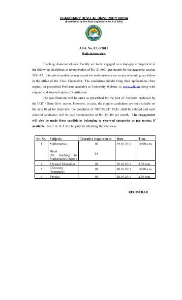 CHAUDHARY DEVI LAL UNIVERSITY SIRSA Advt. No. ET-3/2011 ...