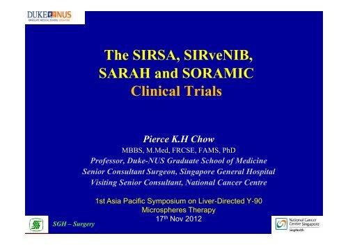 The SIRSA, SIRveNIB, SARAH and SORAMIC Clinical Trials - ITR8