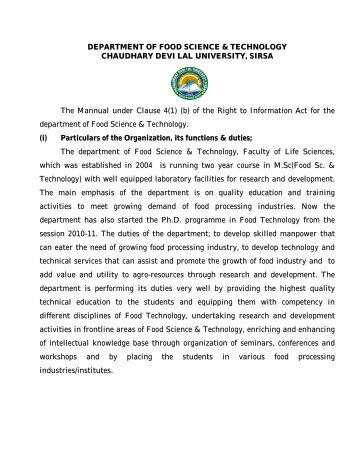 Dept. of FST - Chaudhary Devi Lal University, Sirsa