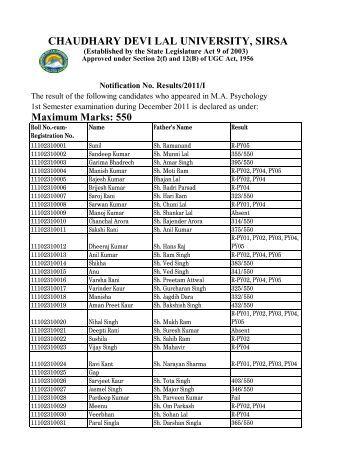 M.A.(Psychology)-1st Semester - Chaudhary Devi Lal University, Sirsa