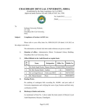 Audit Branch - Chaudhary Devi Lal University, Sirsa