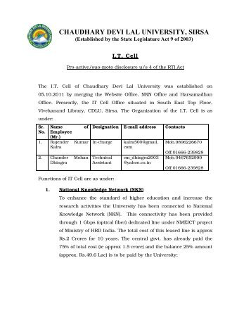 IT Cell - Chaudhary Devi Lal University, Sirsa