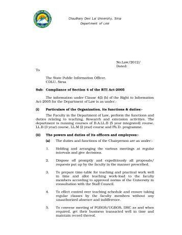 Dept. of Law - Chaudhary Devi Lal University, Sirsa