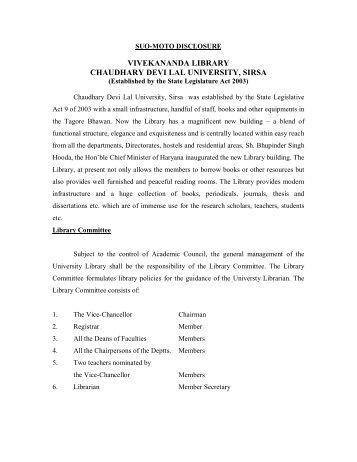 Vivekananda Library - Chaudhary Devi Lal University, Sirsa