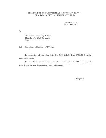 Dept. of JMC - Chaudhary Devi Lal University, Sirsa