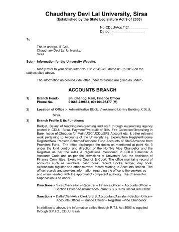 Accounts Branch - Chaudhary Devi Lal University, Sirsa