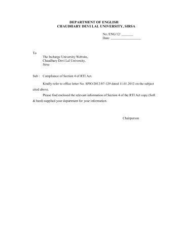 Dept. of English - Chaudhary Devi Lal University, Sirsa