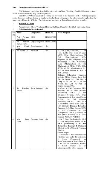 Result Branch - Chaudhary Devi Lal University, Sirsa