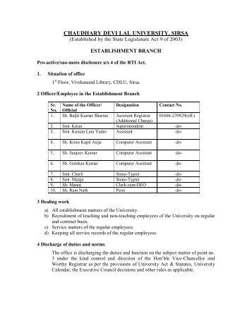 RTI Estt. - Chaudhary Devi Lal University, Sirsa