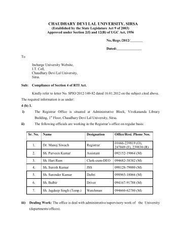 Registrar's Office - Chaudhary Devi Lal University, Sirsa
