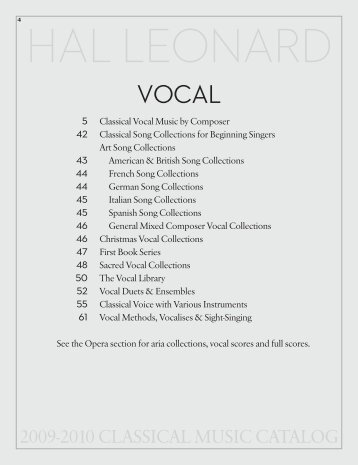 2009-2010 CLASSICAL MUSIC CATALOG - Hal Leonard