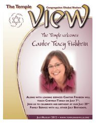 Cantor Tracy Fishbein - The Temple Congregation Ohabai Sholom