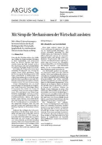 Mit Sirup die Mechanismen der Wirtschafl äusloten - Impuls ...