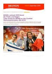 PDF «MONIN Newsletter Schweiz», Dezember 2010