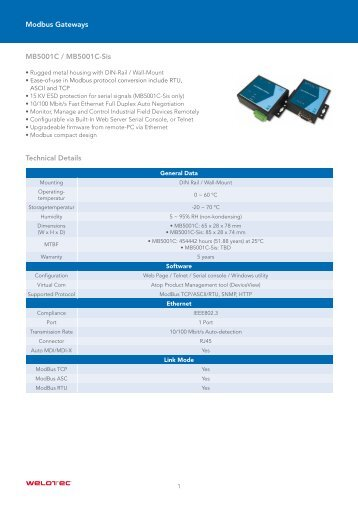 MB5001C / MB5001C-Sis Technical Details ... - Welotec GmbH