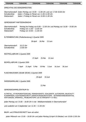 Termine 2. Quartal 2009 - Schrattenthal