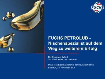 FUCHS PETROLUB - Nischenspezialist auf dem Weg zu weiterem Erfolg ...