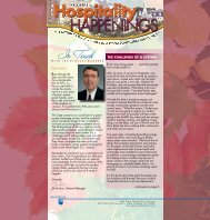 Hospitality Happenings Newsletter and Calendar - Oct-Nov-Dec