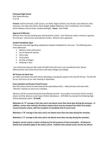 Parkwood High School Site- Based Minutes 5-12-10 Present ...