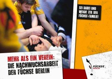 MEHR ALS EIN VEREIN: DIE NACHWUCHSARBEIT ... - Füchse Berlin