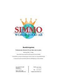 Beställningslista - Simmo World Food AB