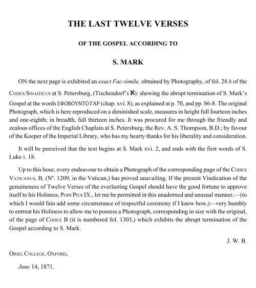 The Last Twelve Verses Of The Gospel According To S Bible