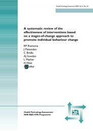Stage-based approaches to behaviour change - NIHR Health ...