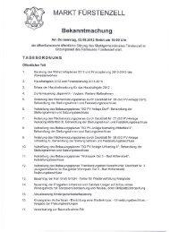 MARKT FÜRSTENZELL Bekanntmachung - Fuerstenzell.de