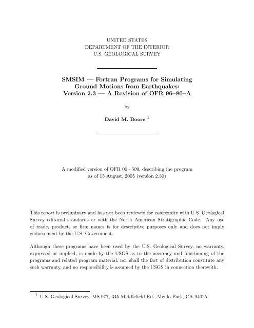 SMSIM — Fortran Programs for Simulating Ground     - David M