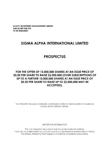 sigma alpha international limited - Australian Stock Exchange