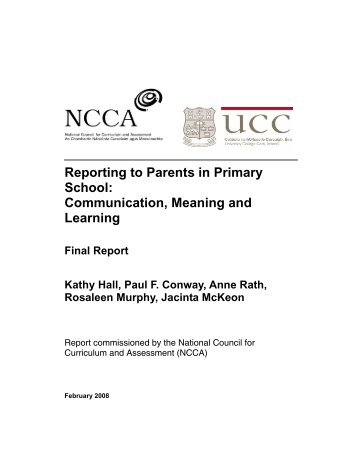 Reporting to Parents in Primary School - National Council for ...