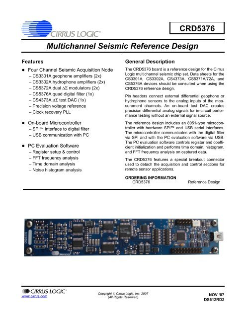 CRD5376 Multichannel Seismic Reference Design - Cirrus Logic