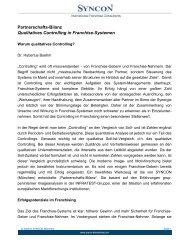 Partnerschafts-Bilanz Qualitatives Controlling in Franchise ... - Syncon