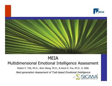 Multidimensional Emotional Intelligence Assessment (MEIA) - Sigma ...