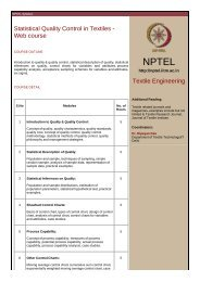 Statistical Quality Control in Textiles - Web course Textile ... - NPTel