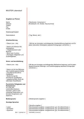 Muster Lebenslauf klassisch - Berufsimpulse.ch