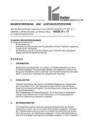 Baubeschreibung - Hans Keller Bauunternehmung GmbH, Bollingen