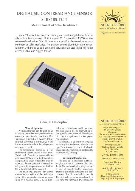 Digital Silicon Irradiance Sensor Si Rs485 Tc T Ingenieurburo