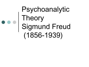 Psychoanalytic Theory Sigmund Freud (1856-1939)