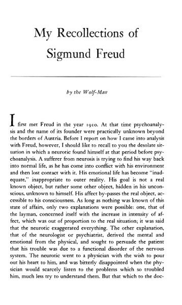 My Recollections of Sigmund Freud