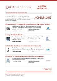 ACHEMA preview 2012 Page 1/14 - Chemie.de