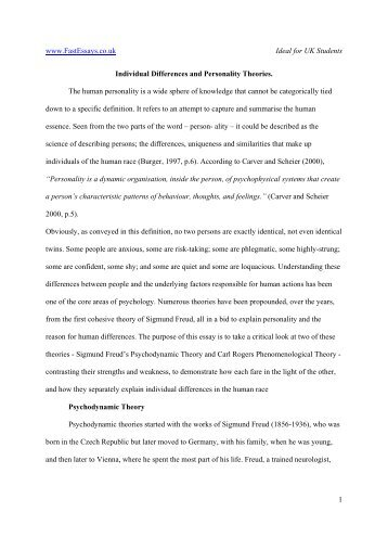 Individual Differences and Personality Theories. - essay